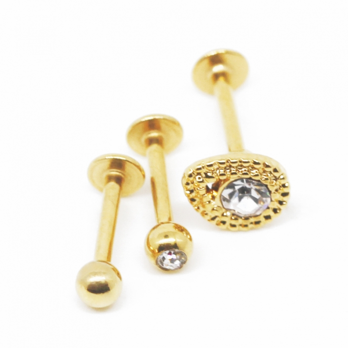 crystal labret piercing jewelry