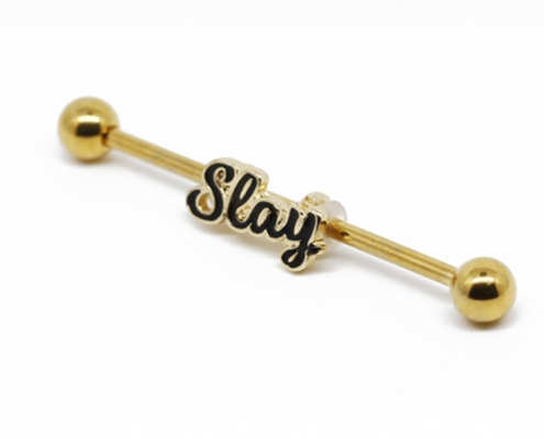 Stainless Steel Gold Letter Industrial Piercing Jewelry