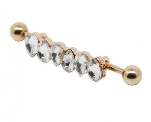 Steel Cluster Zircon Industrial Piercing Body Jewelry