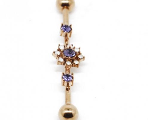 Gold Plated Zircon Flower Industrial Ear Piercing Jewelry