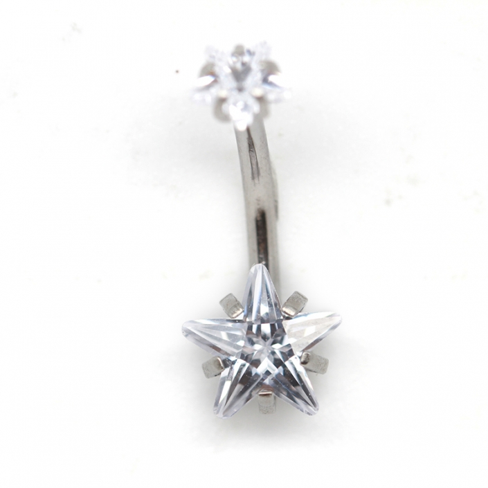 Star Design Prong Zircon Navel Belly Button Ring Piercing
