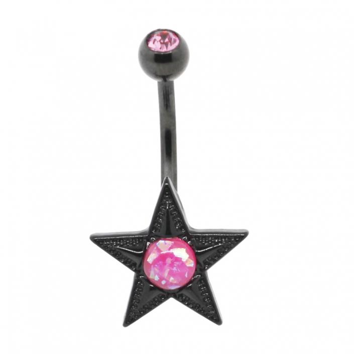Black Star Zircon Steel Belly Navel Piercing jewelry