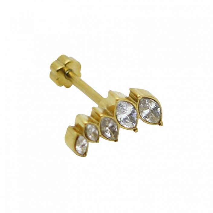Stainless Steel Gold Cluster Zircon Lip Labret Piercing