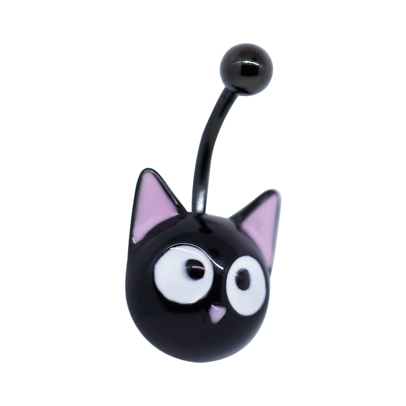 Cat Design 316 Surgical Steel Belly Button Ring Piercing