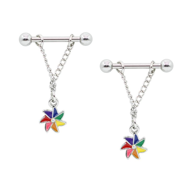 Stainless Steel Silver Nipple Dangle Piercing Jewelry