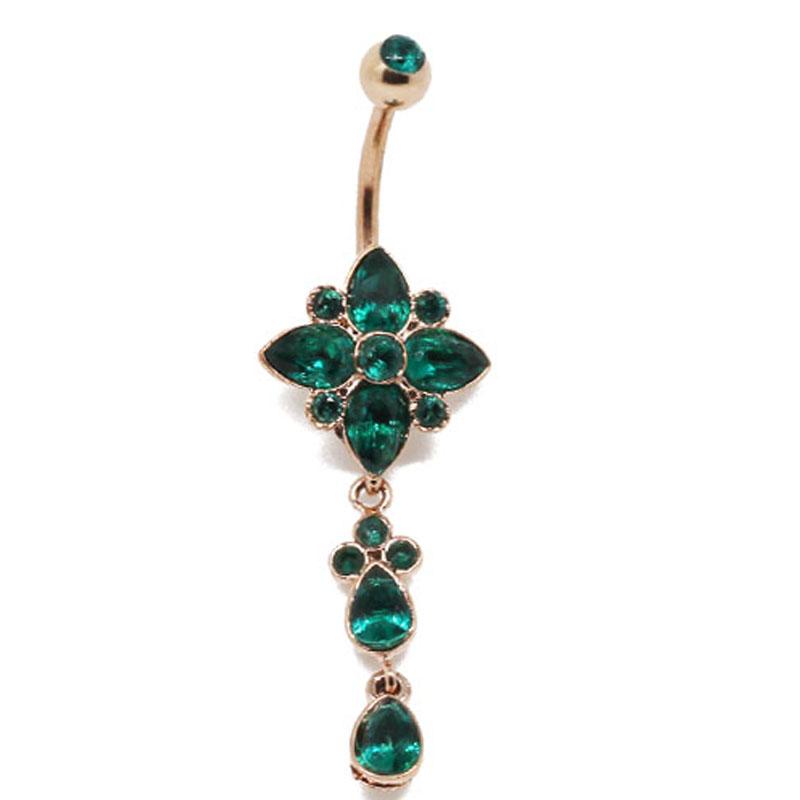Rose Gold Steel Flower Zircon Belly Navel Piercing Jewelry