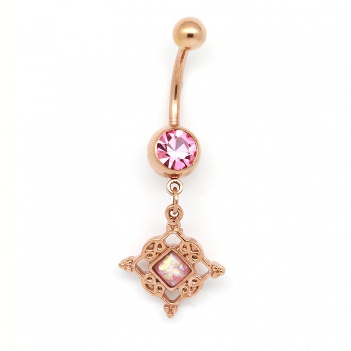 316 Stainless Steel Dangle Zircon Belly Button Piercing Jewelry