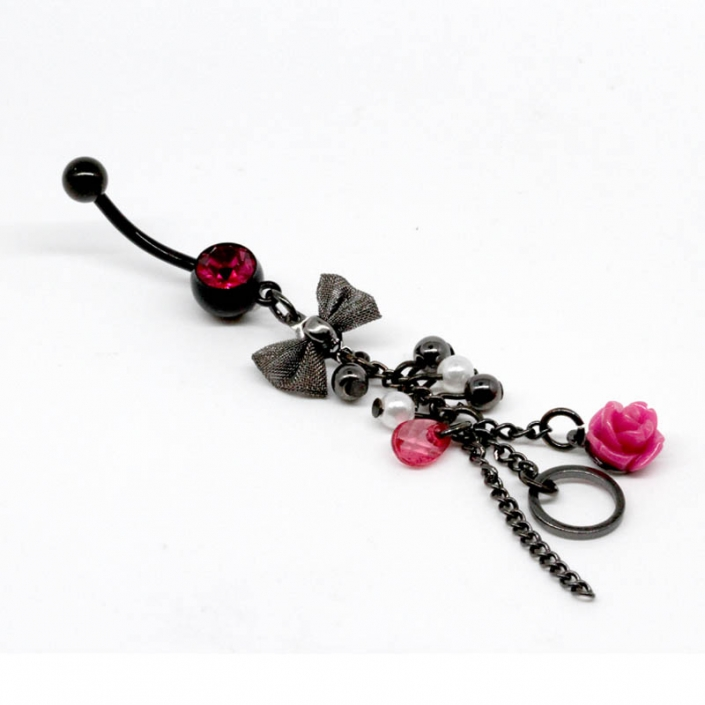 Black Dangle Belly Button Ring Body Jewelry