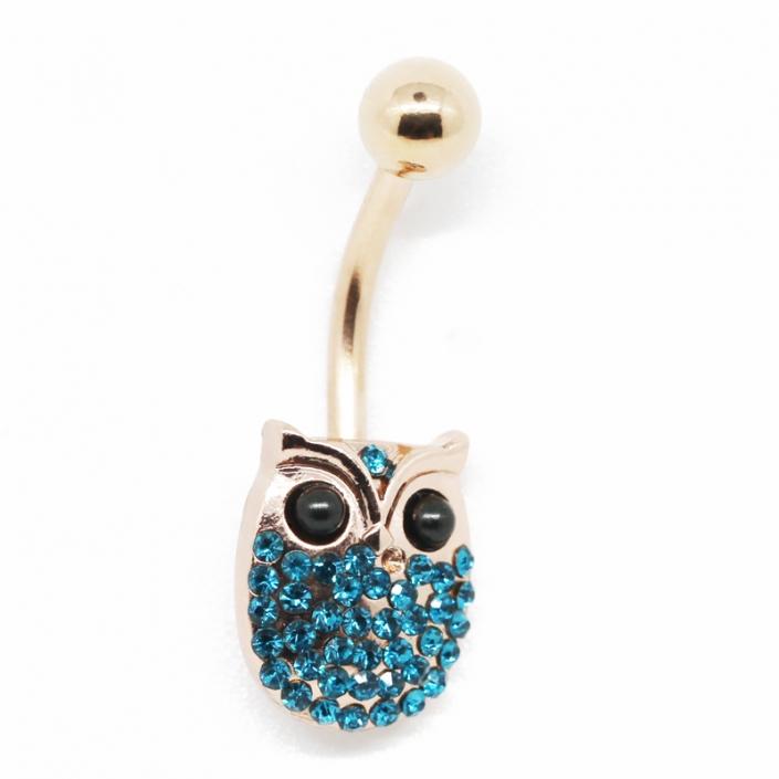 Owl Zircon Gold Belly Button Piercing Jewelry