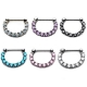 316 Stainless Steel Cluster Zircon Septum Ring Piercing Jewelry