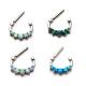 Steel Opal Cluster Septum Clicker Ring Piercing Jewelry